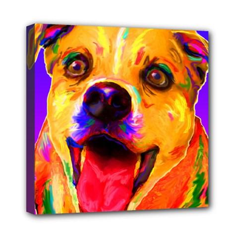 Happy Dog Mini Canvas 8  X 8  (framed)