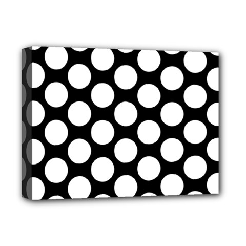 Black And White Polkadot Deluxe Canvas 16  X 12  (framed)  by Zandiepants