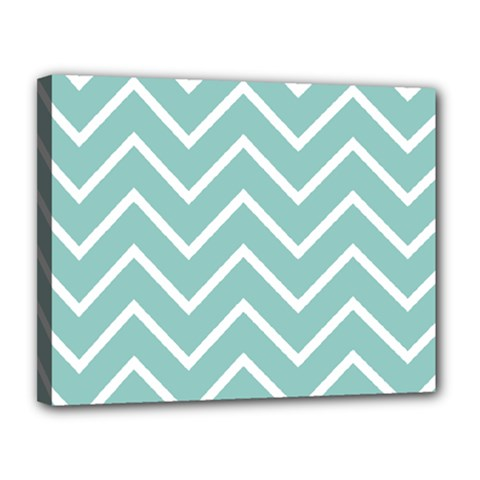 Blue And White Chevron Canvas 14  X 11  (framed) by zenandchic