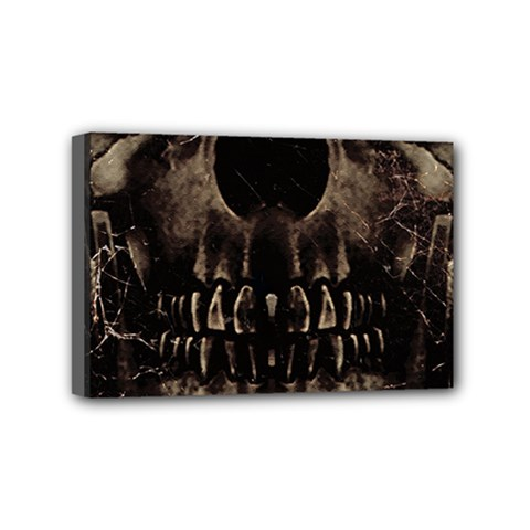 Skull Poster Background Mini Canvas 6  X 4  (framed) by dflcprints