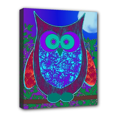 Moon Owl Deluxe Canvas 20  X 16  (framed) by SaraThePixelPixie