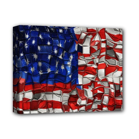 American Flag Blocks Deluxe Canvas 14  X 11  (framed) by bloomingvinedesign