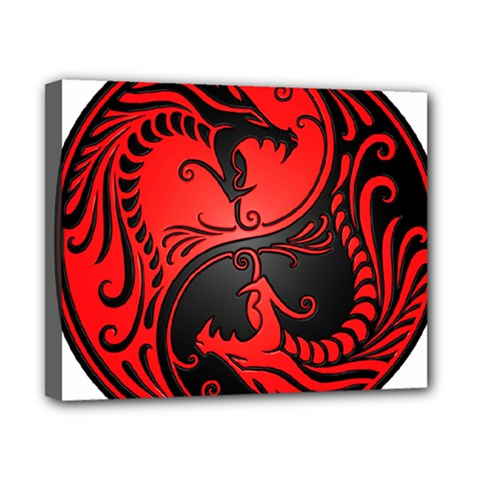 Yin Yang Dragons Red And Black Canvas 10  X 8  (framed) by JeffBartels
