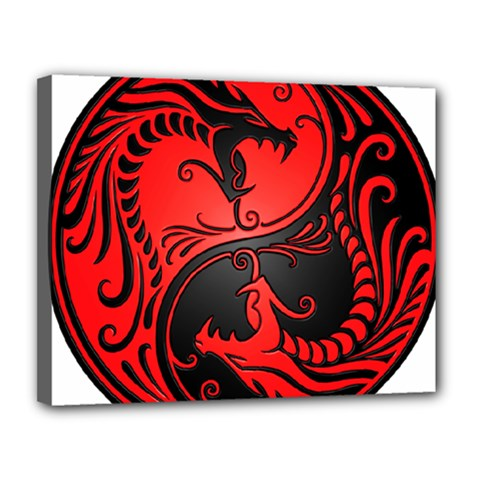 Yin Yang Dragons Red and Black Canvas 14  x 11  (Framed) by JeffBartels