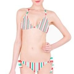 Aqua & Coral Lines Bikini