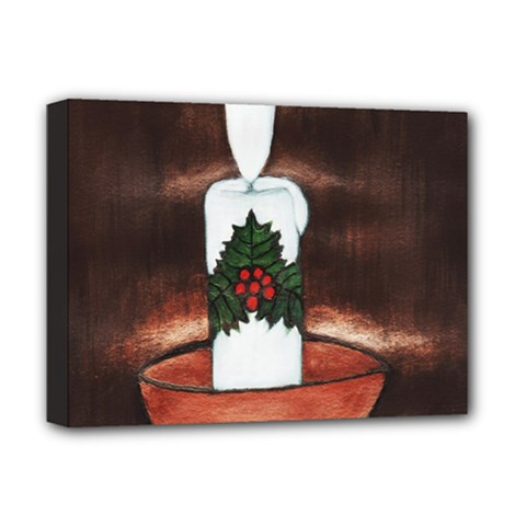 Candle And Mistletoe Deluxe Canvas 16  X 12  (framed)  by JUNEIPER07
