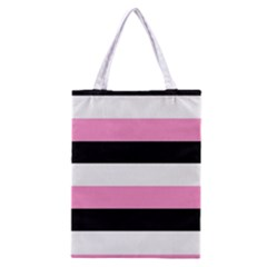 Black, Pink And White Stripes  By Celeste Khoncepts Com 20x28 All Over Print Classic Tote Bag by Khoncepts