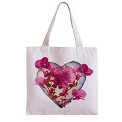 Heart Shaped With Flowers Digital Collage Grocery Tote Bag by dflcprints