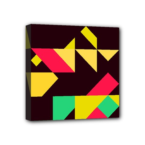 Shapes In Retro Colors 2 Mini Canvas 4  X 4  (stretched)