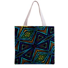 Tribal Style Colorful Geometric Pattern Grocery Tote Bag