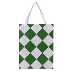 Harlequin Diamond Green White Classic Tote Bag