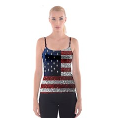 American Flag In Glitter Photograph Spaghetti Strap Top by bloomingvinedesign