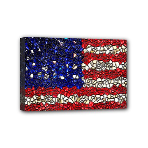 American Flag Mosaic Mini Canvas 6  X 4  (framed) by bloomingvinedesign