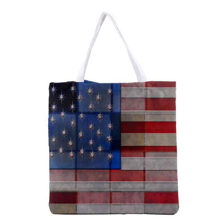 American Flag Quilt Grocery Tote Bag