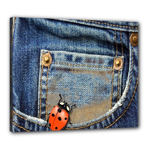 Blue Jean Lady Bug Canvas 24  x 20  (Framed) by TheWowFactor