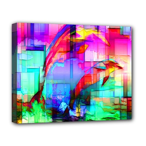 Tim Henderson Dolphins Deluxe Canvas 20  X 16  (framed) by TheWowFactor