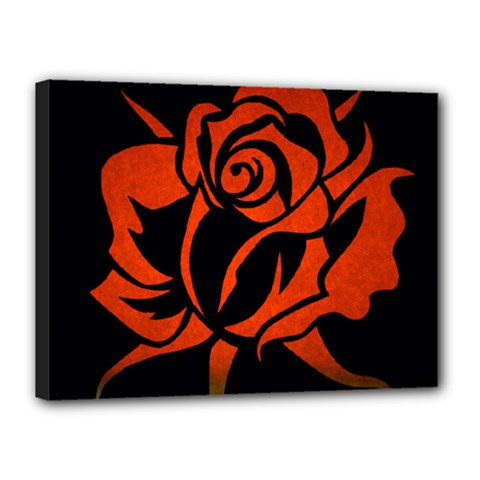 Red Rose Etching On Black Canvas 16  X 12  (framed) by StuffOrSomething