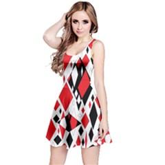 Distorted Diamonds In Black & Red Sleeveless Dress