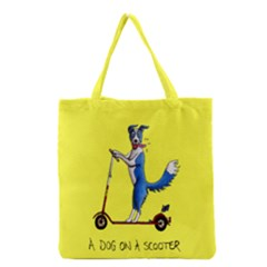 A Dog On A Scooter Grocery Tote Bag by retz