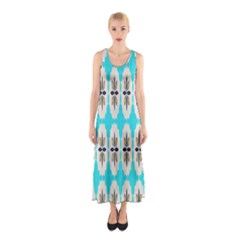 Floral Pattern On A Blue Background Full Print Maxi Dress