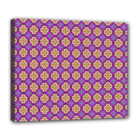 Purple Decorative Quatrefoil Deluxe Canvas 24  X 20  (framed)