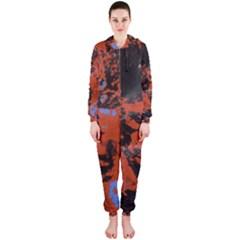 Orange Blue Black Texture Hooded Onepiece Jumpsuit