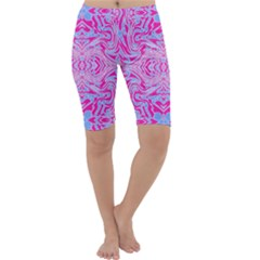 Trippy Florescent Pink Blue Abstract  Cropped Leggings