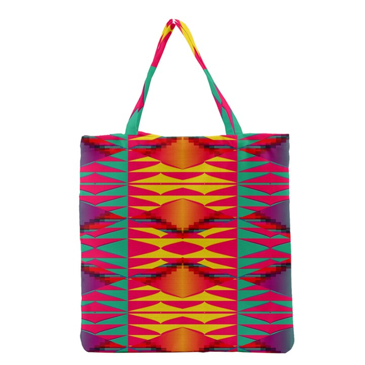 Colorful tribal texture Grocery Tote Bag