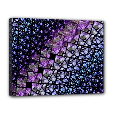 Dusk Blue and Purple Fractal Canvas 14  x 11  (Framed) by KirstenStar