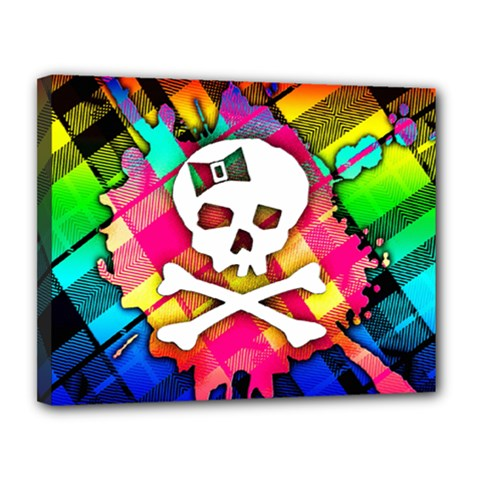 Rainbow Plaid Skull Canvas 14  X 11  (framed) by ArtistRoseanneJones