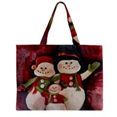 Snowman Family No  2 Zipper Tiny Tote Bags