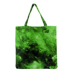 Bright Green Abstract Grocery Tote Bags