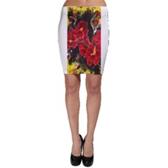 Red Orchids Bodycon Skirts by timelessartoncanvas