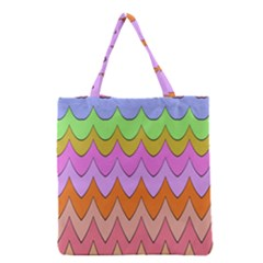 Pastel Waves Pattern Grocery Tote Bag