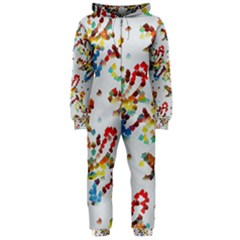 Colorful Paint Strokes Hooded Onepiece Jumpsuit by LalyLauraFLM