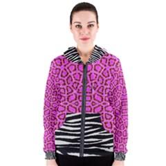 Black White Tiger  Women s Zipper Hoodie