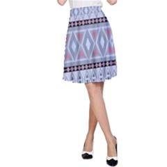 Fancy Tribal Border Pattern Blue A Line Skirts