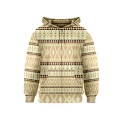 Fancy Tribal Border Pattern Beige Kids Zipper Hoodies