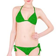 Sparkling Glitter Neon Green Bikini Set