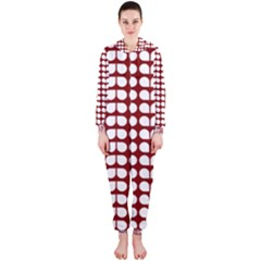 Red And White Leaf Pattern Hooded Jumpsuit (ladies)