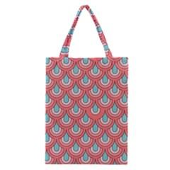 70s Peach Aqua Pattern Classic Tote Bags