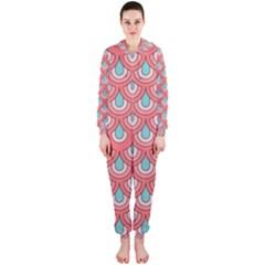 70s Peach Aqua Pattern Hooded Jumpsuit (ladies)