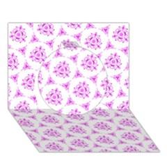 Sweet Doodle Pattern Pink Circle 3D Greeting Card (7x5)