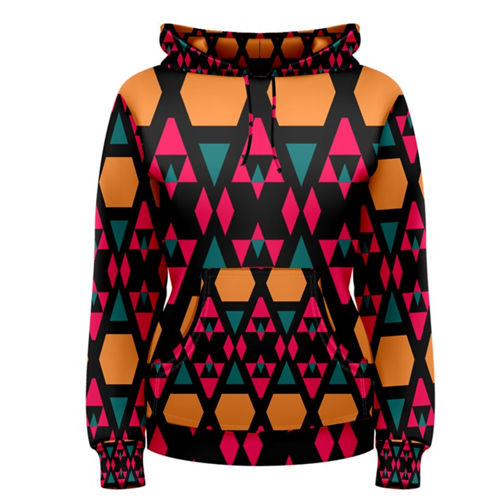 Rhombus and other shapes pattern Women s Pullover Hoodie