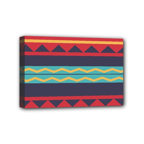 Rhombus And Waves Chains Pattern Mini Canvas 6  X 4  (stretched) by LalyLauraFLM