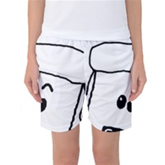 Peeping White Poodle Women s Basketball Shorts by TailWags