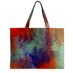 Abstract In Green, Orange, And Blue Zipper Tiny Tote Bags