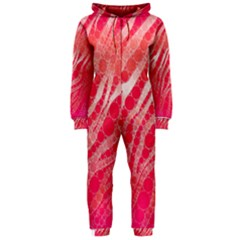 Florescent Pink Zebra Pattern  Hooded Jumpsuit (ladies)  by OCDesignss