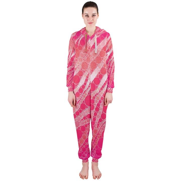 Florescent Pink Zebra Pattern  Hooded Jumpsuit (Ladies)