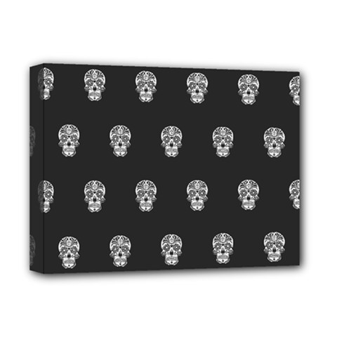 Skull Pattern Bw  Deluxe Canvas 16  X 12   by MoreColorsinLife